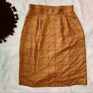 Vtg 80s Checkered Fall High Waist Pencil Skirt